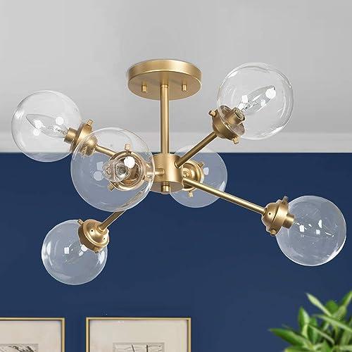 KSANA Gold Semi Flush Mount Ceiling Light