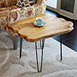WELLAND Natural Edge Coffee Table Small, Hairpin Coffee Table, Natural Wood End Table, Wood Slab Table 28