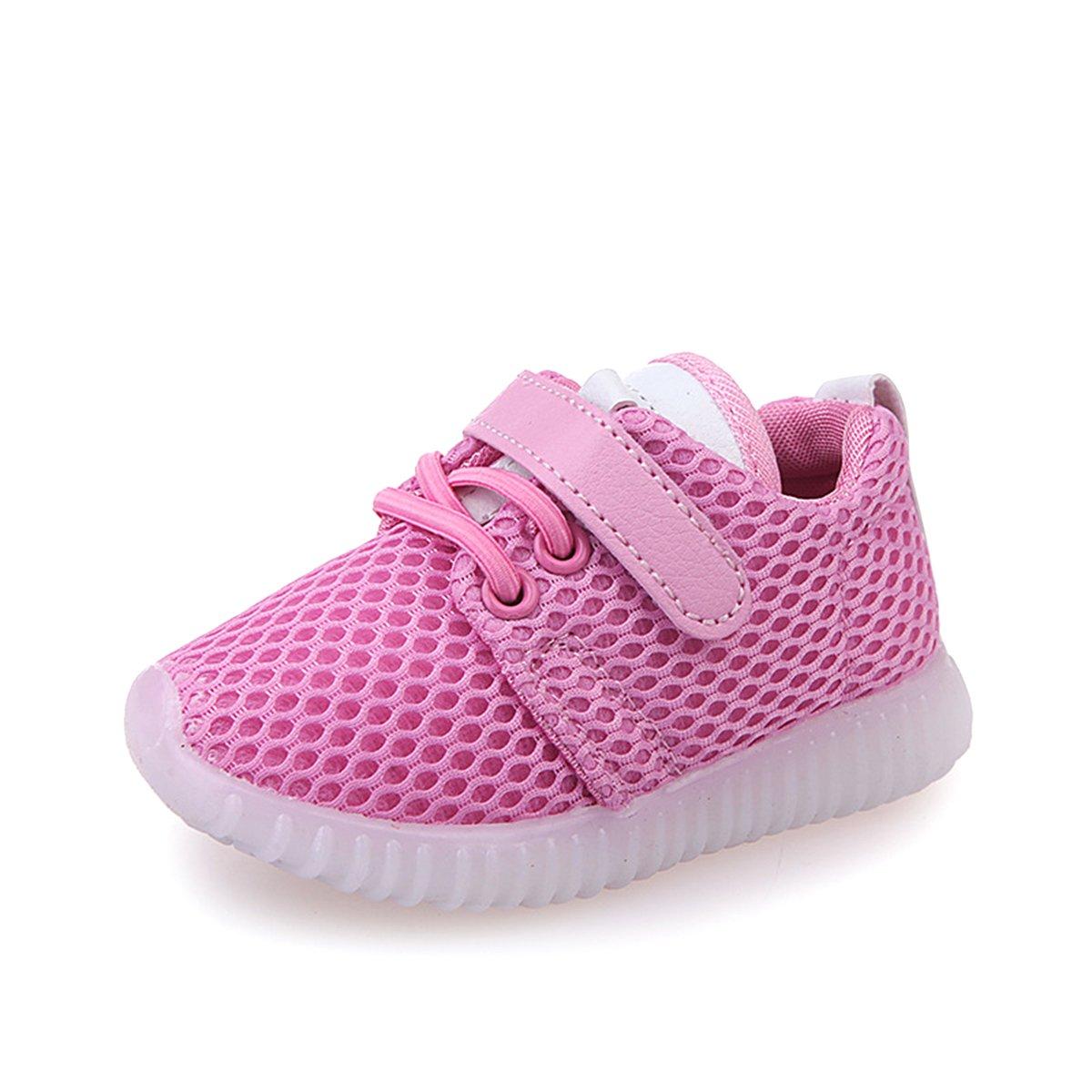 BESTOYARD Niños LED Light Up Sneakers Brillante Intermitente Gancho y Lazo Sujetador Zapatos Deportivos Para Niños Niñas - Tamaño 30 (Rosa) S30H67111485LG