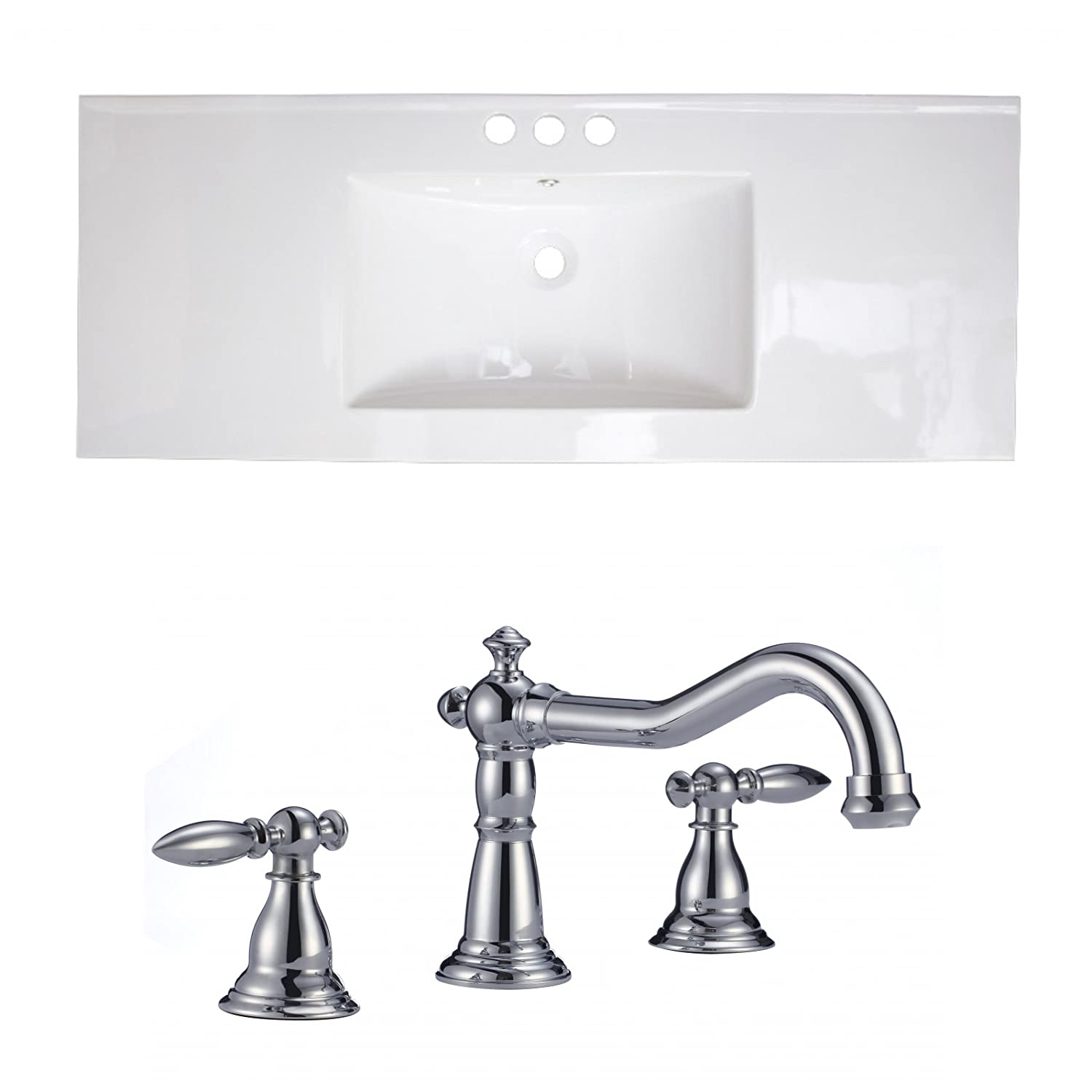 "Jade Bath JB-15782 48"" W x 18"" D Ceramic Top Set with 8"" o.c. CUPC Faucet, White low-cost"