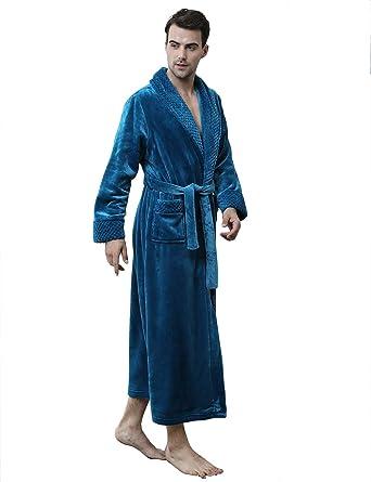6185afd98c Men Women s Soft Warm Fleece Bath Robe Long Plush Robe with Pockets Couple  Pajamas