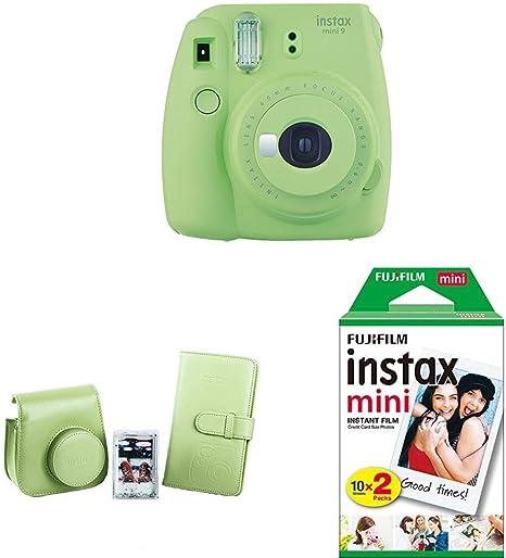 Fujifilm Instax Mini 9 - Cámara instantánea, Verde + Kit de Accesorios (Funda Desmontable, Álbum 108 Fotos, Marco de metacrilato) Verde Lima + Pack de 20 películas fotográficas instantáneas, blanco: Amazon.es: Electrónica