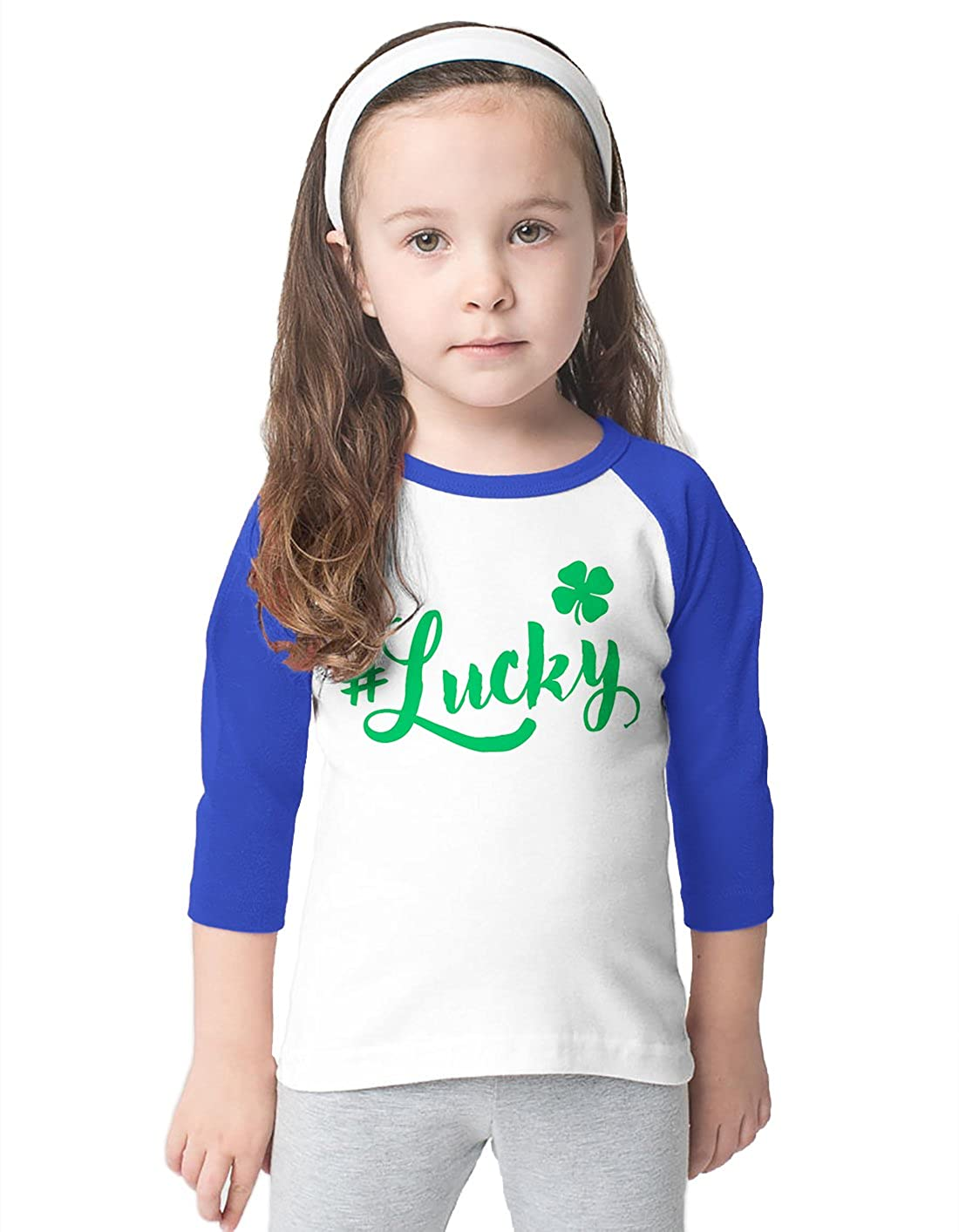 SpiritForged Apparel Lucky Clover Toddler 3//4 Raglan Shirt