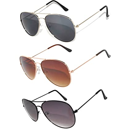 5b47f14d9e3 Classic Aviator Style Sunglasses Brown Color Lens Bronze Color Frame UVB  Protection 3 Pairs