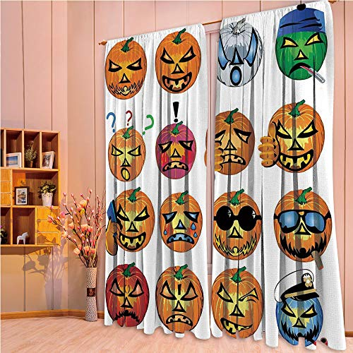 ZHICASSIESOPHIER Darkening Thermal Insulated Short Curtain Adjustable Tie Up Shade Panel for Small Window,Rod Pocket,Pumpkin with Emoji Faces Halloween Humor Hipster 108Wx63L Inch -
