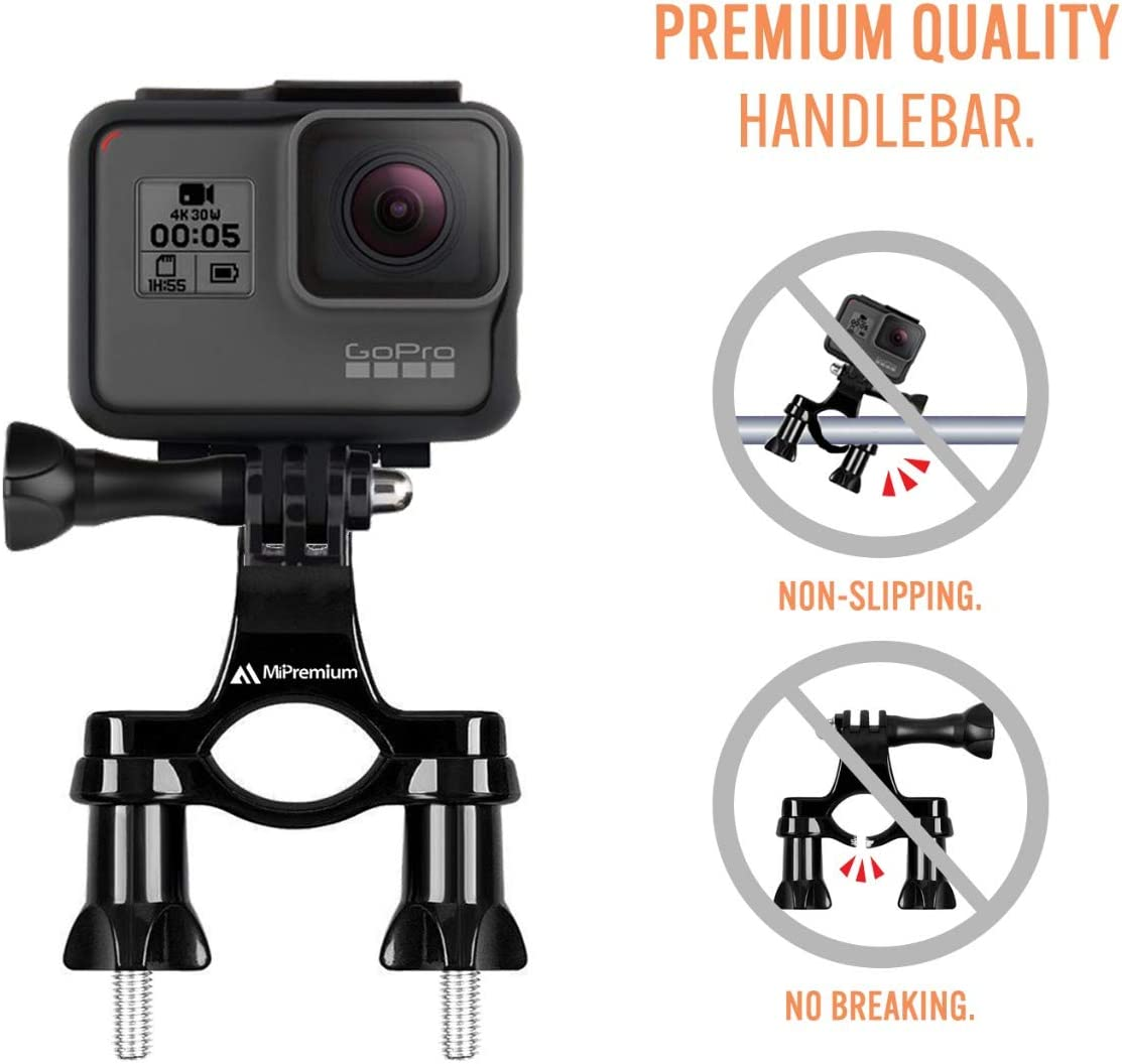 Bicycle Bike Handlebar Mount Adapter for GoPro Hero Fusion Session Black Silver 7 6 5 4 3 2 1 EK7000 Sjcam Seatpost Pole Clamp 3 Way Adjustable Pivot Arm for Action Cameras by MiPremium 2018