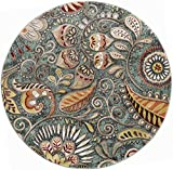 Giselle Transitional Floral Seafoam Round Area Rug, 5′ Round Review