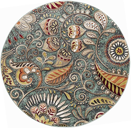 Giselle Transitional Floral Seafoam Round Area Rug, 5' Round