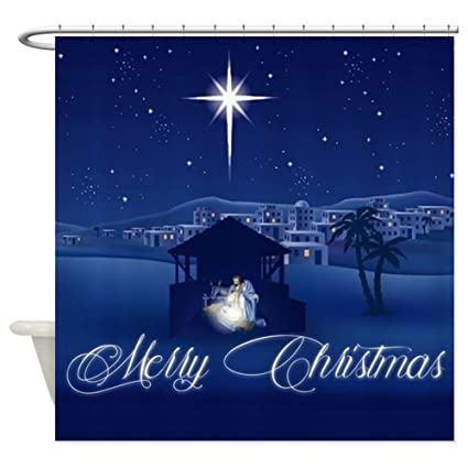 CafePress Merry Christmas Nativity Decorative Fabric Shower Curtain 69quot