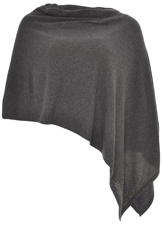 Yoek Damen Poncho Cape mit Strasssteinen Plus Size