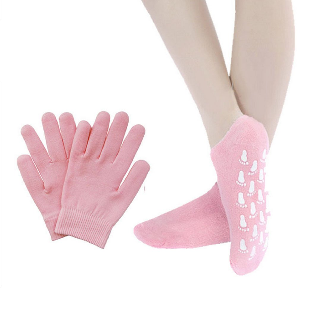 1 Pair Pink Gel Moisturizing Gloves Anti-Dry Cracked Skin Care Spa Moisturizing Whitening Treatment Gel Plant Essential Oils Gloves Pink Mishiner