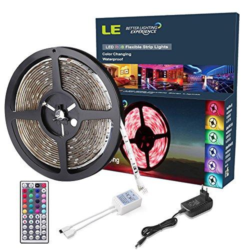 LE 5m 150 5050 SMD Leds Flexibler LED Streifen, RGB, KOMPLETTES SET, Wasserdicht, Farbwechselhaft, Inklusive Netzteil und 44 Tasten IR-Fernbedienung, Mehrfarbig viele Funktionen, DIY-Beleuchtung, LED Lichtband