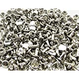 Amanteao Silvery Double Cap Rivets Plane Cap 12mm and Post 12mm Pack of 100 Sets
