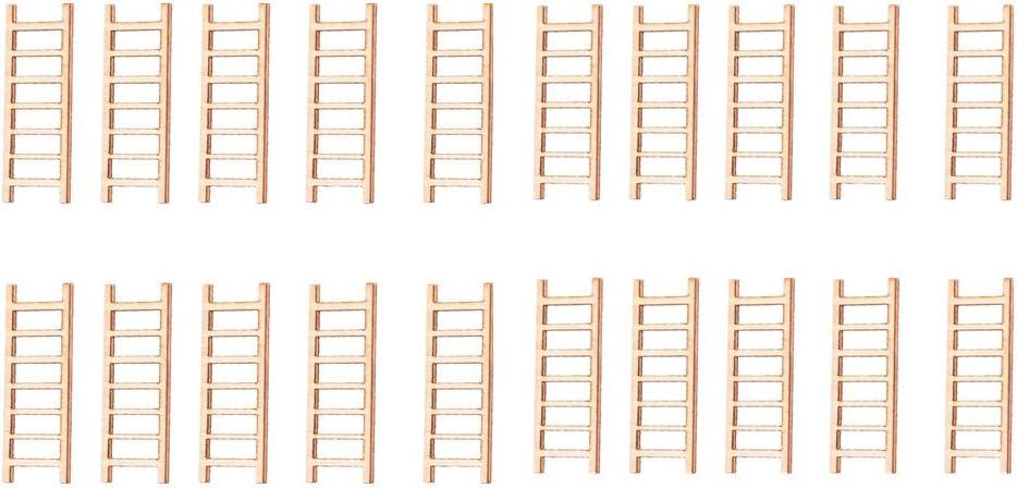 MagiDeal 20 Pcs Micro Paisaje Decoración Escalera de Madera Ornamento Jardín DIY Artesanía