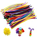 Innker 300 Pcs DIY Bendable Cleaners Polyester Pipe Jumbo Chenille Stems Adopted Galvanized Wire and Polyester Silk 30 Kinds Assorted Colors for Teaching Assistant Intelligence Toy