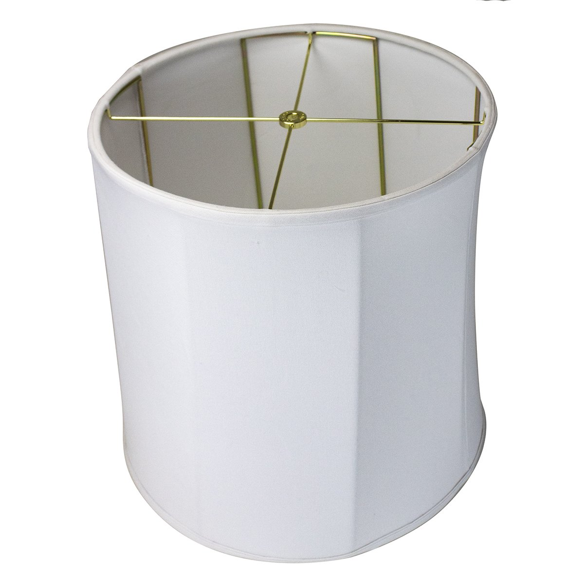 14x15x15 Collapsible Drum Lampshade Premium White Linen with Brass Spider fitter By Home Concept - Perfect for table and Desk lamps - Medium, White