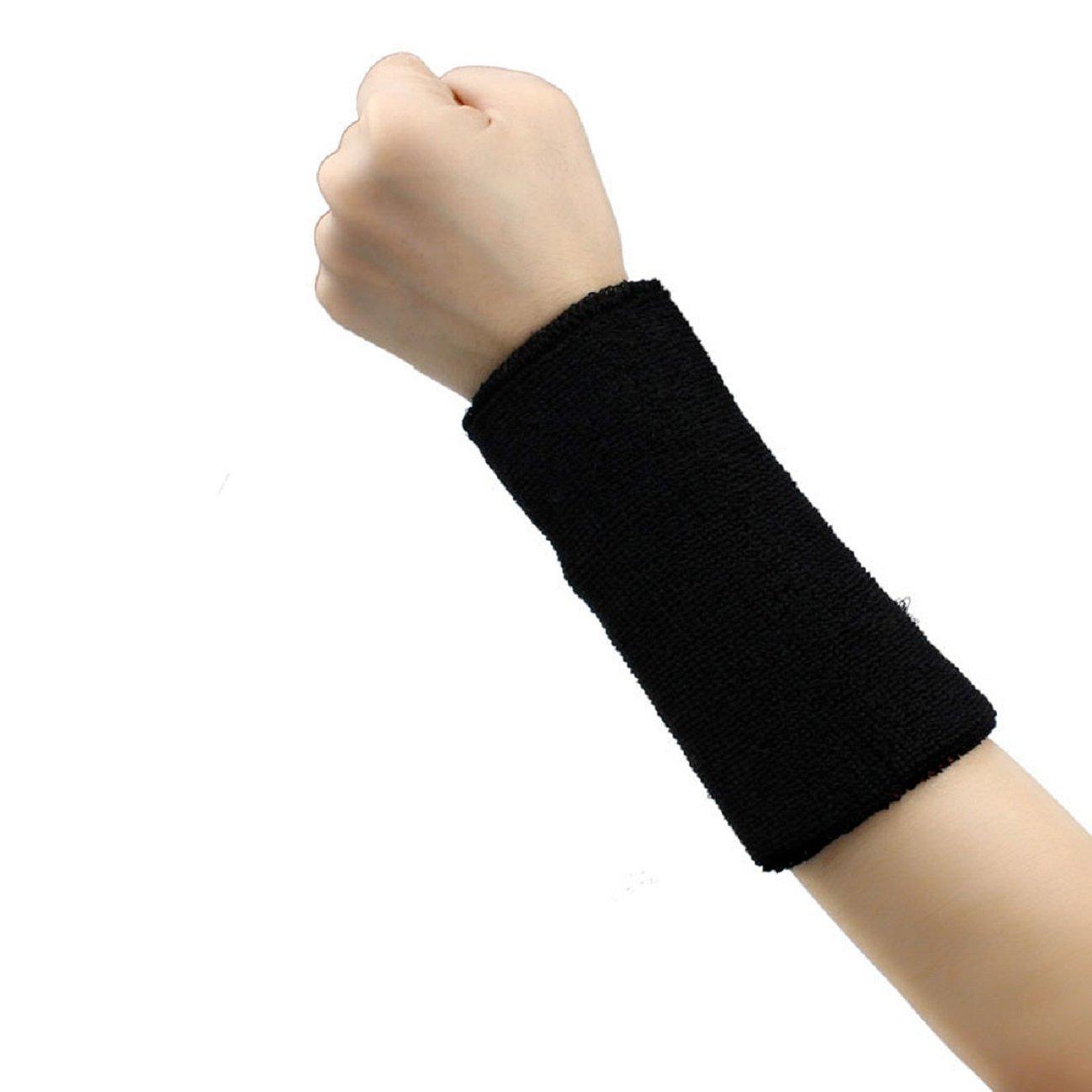 Tonsee 1 PCS Unisex Cotton Basketball Tennis Gym Yoga Sweatband Wristband (Black)