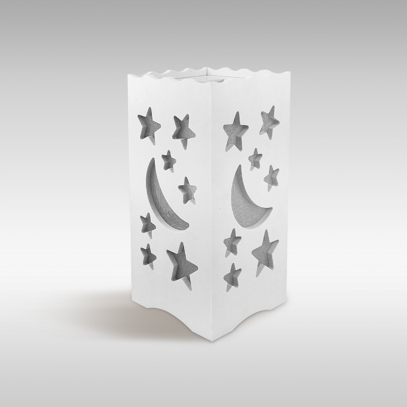 DIJIANI Bedside Table Lamp Simple Night Stand Lamp Contemporary Small Bedside Desk Lamp with Moon and Stars Cutout for Living Room, Bedroom, Study, Hotel, White