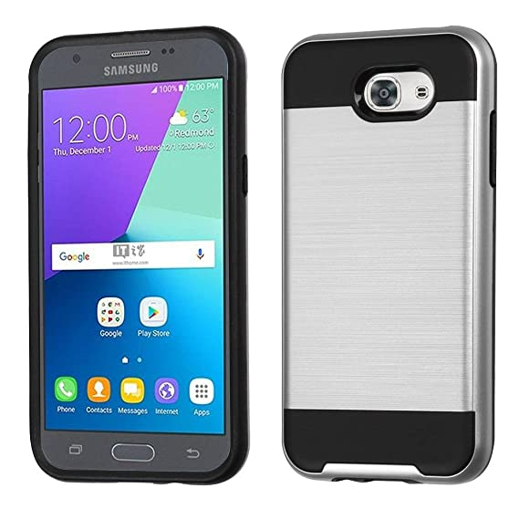 detailed look 68775 cbcd2 Amazon.com: Asmyna Cell Phone Case for Samsung Galaxy J3 - Silver ...