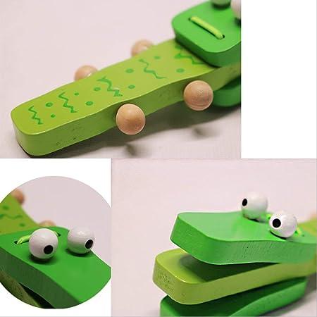 Orffworld Krokodil Holz Castanet Baby Musikinstrument Cartoon Rassel SpielzeuD