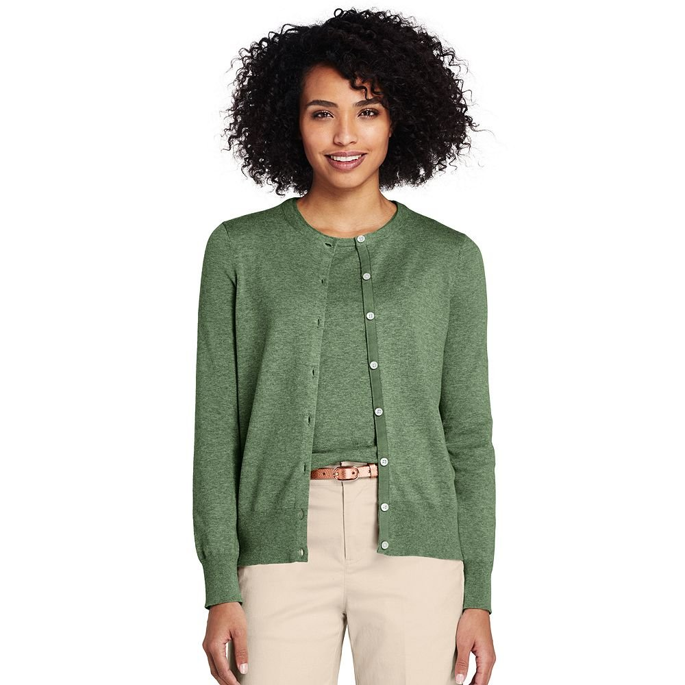 436f791bb97e Lands' End Women's Petite Supima Cotton Cardigan Sweater, XS, Lovat Heather