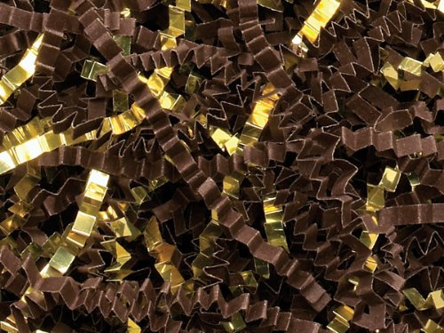 Chocolate & Gold Crinkle Cut™ Shred 10 lb Box ~ Spring-fill Shred - WRAPS-ZF10CG by Miller Supply Inc