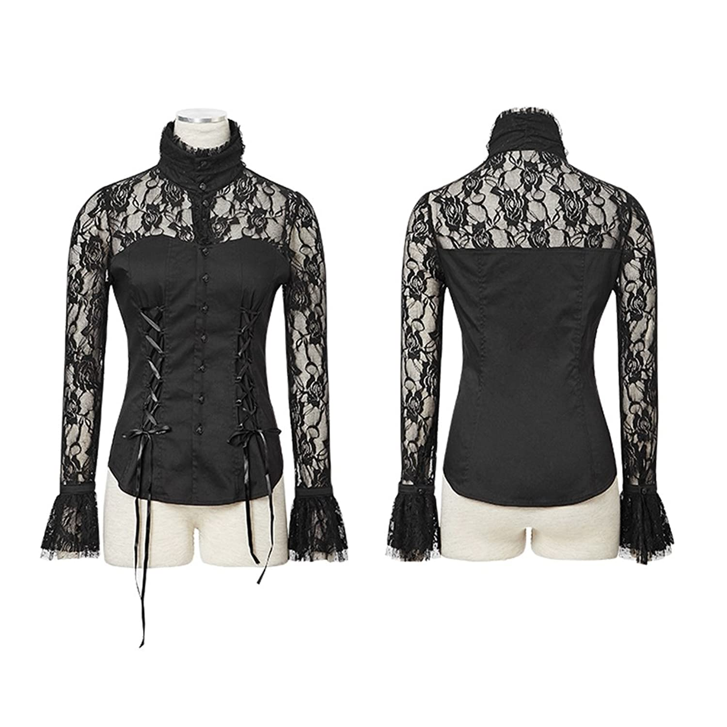 2016 New Punk Gothic Girl Lace Vintage Victorian Black Long sleeve Shirt Top