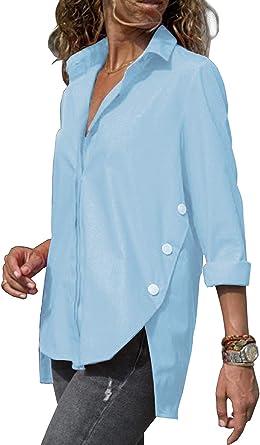 Minetom Blusa Mujer Casual Camiseta Cuello V Manga Larga Camisas Chic Suelto Botón Solapa Camisa T-Shirt Tops Color Sólido Túnica