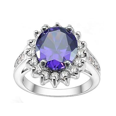 Kivn Bijoux tendance Améthyste CZ Oxyde de Zirconium Mariage Bagues de  fiançailles pour femme (Violet 12871c4cf460