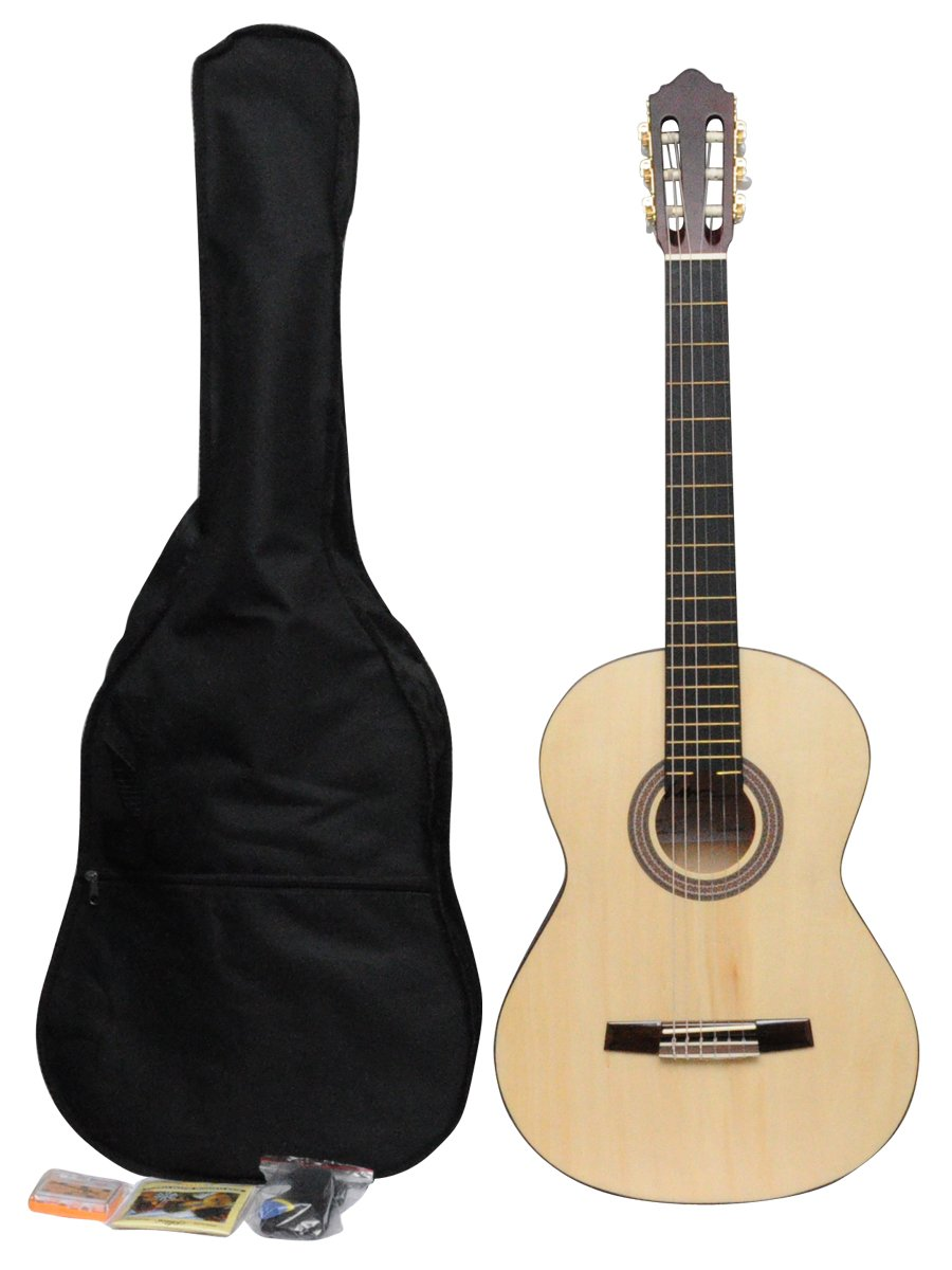 ADM JC113-NR 39'' Full Size Entry Level Classical Guitar Package, Natural Matte