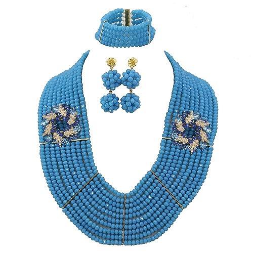 AfricanBeads 6 mm 10-row azul africano cuentas Joyería conjunto ...