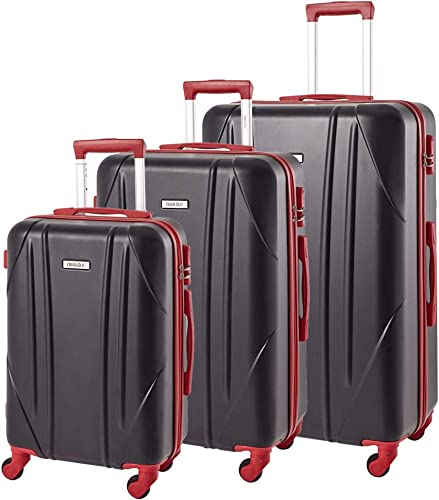 Newtour 3 Pieces Luggage Set Hardshell Suitcases with Spinner Wheels Hardside Lightweight Set of Travel Luggage 20in 24in 28in Black Red
