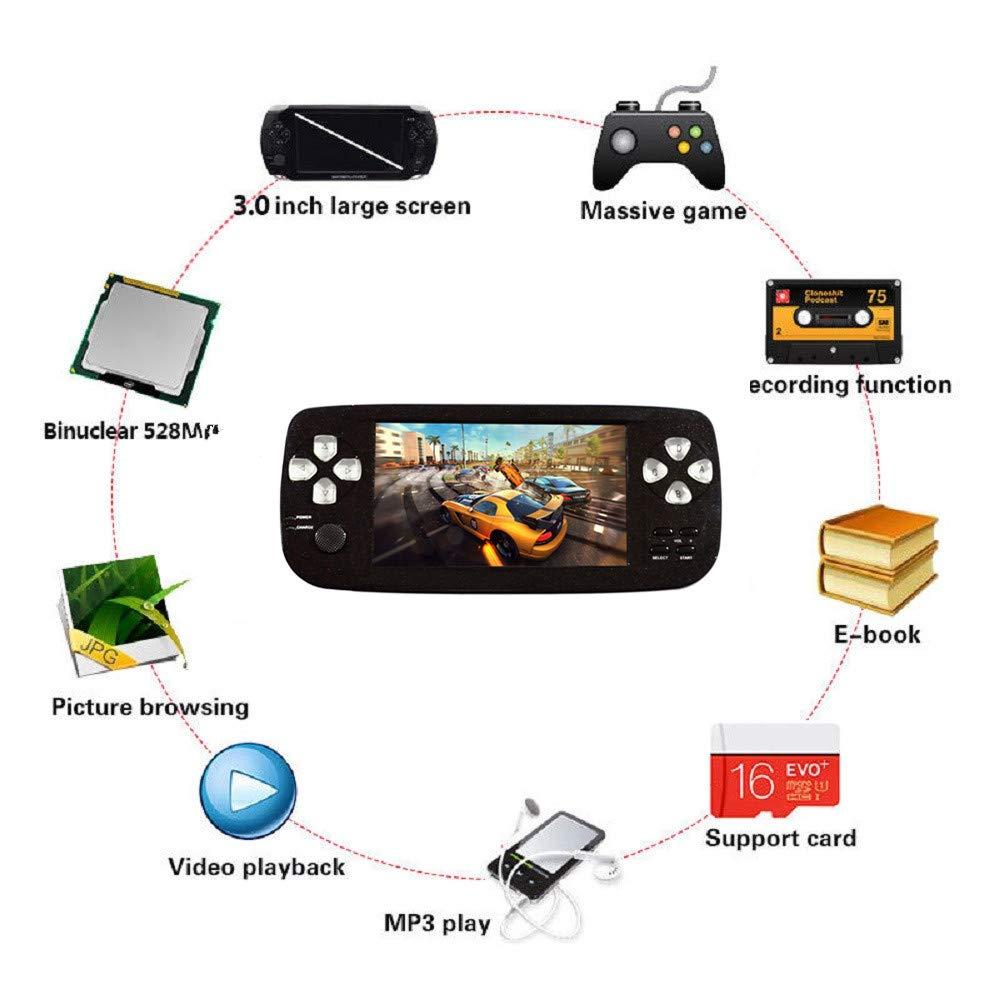 BAORUITENG Handheld Game Console, Portable Video Game 4.3'' TFT Screen 4GB Pap Classic Retro Game Console with 3000 Games 64 Bit Classic Game Console,Birthday Gift for Children (Black) by BAORUITENG (Image #1)
