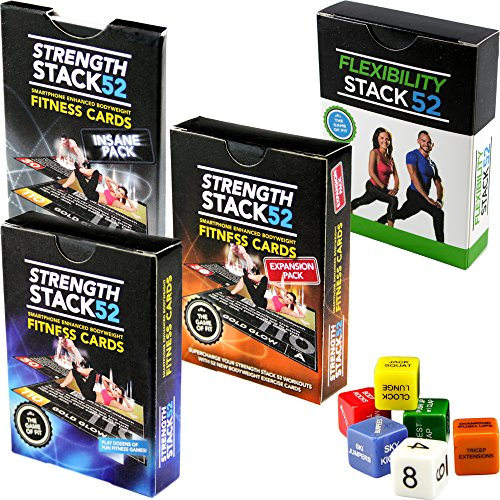 Exercise Cards Complete Pack: Strength Stack 52 Bodyweight Workout Card and Dice Games. Designed by a Military Fitness Expert. Video Instructions Included. No Weights or Gym Equipment Needed.