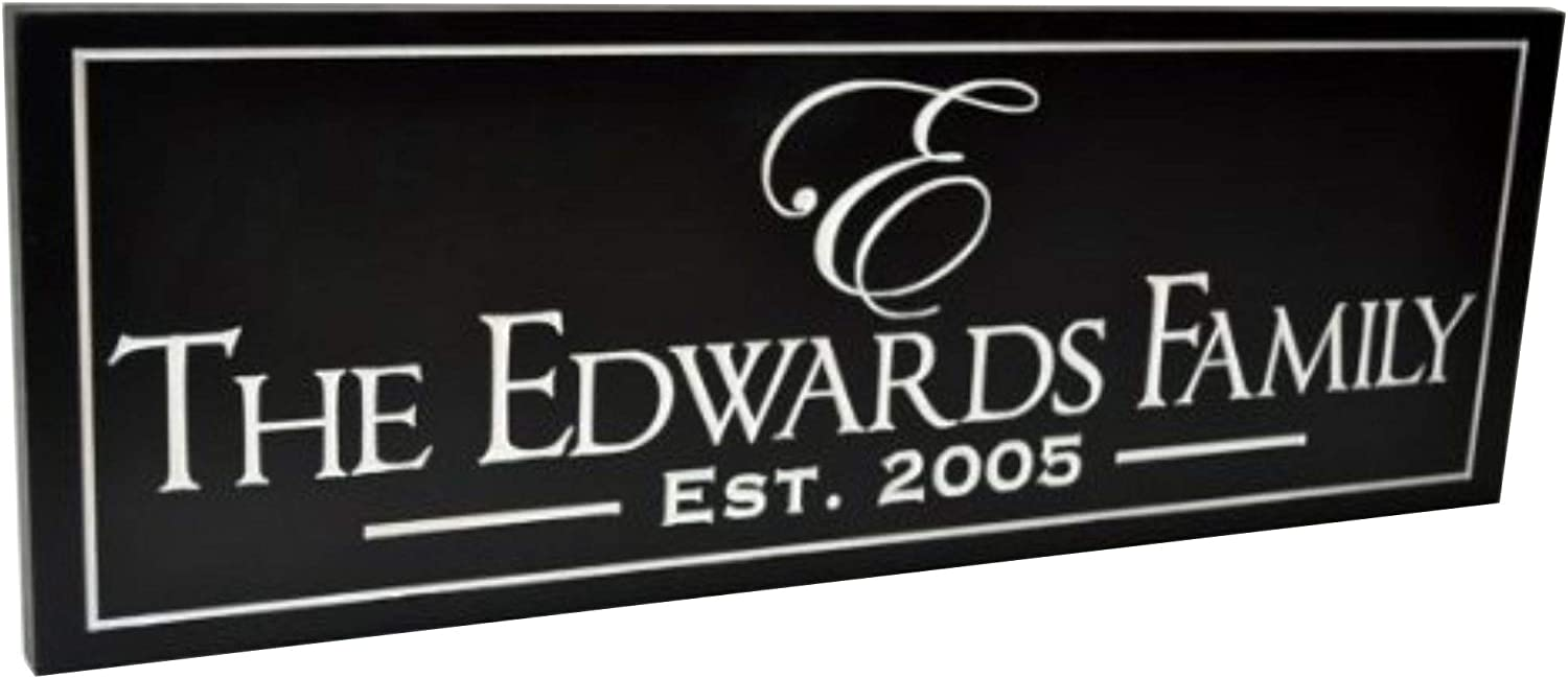 Personalized Glass Family Name Sign With Established Date 11x21