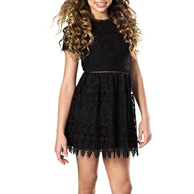35d8e45a6e560 Amazon.com: Miss Behave Girls Annabelle Lace Dress in Black: Clothing