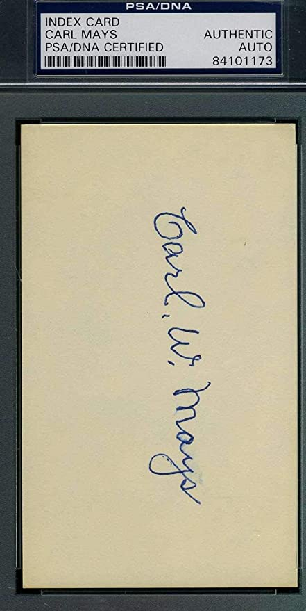 carl mays coa autograph 3x5 index card hand signed authentic psa