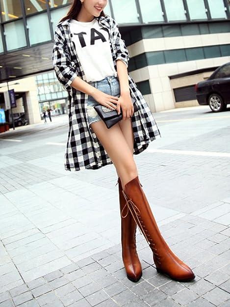 OCHENTA Femme Boots Plats Hauteur de Tige 42 CM Talon Intérieur 3.5 CM Tour de Tige 36CM Bottes Marron Taille Asiatique 40 XOFyxSdZ