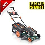 "BMC Lawn Racer 21"" Self Propelled Electric Push Button Start Lithium Ion Battery 5.5HP 4 Stroke Rotary Petrol Lawn Mower with 60L Grass Collection Bag, All Steel Deck, 4 in 1 Function Cut, Cut & Collect, Mulch, Side Discharge"
