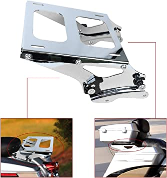 AUFER Detachable Two Up Mounting Luggage Rack 4 Point Docking Hardware Fits For Touring Road King Street Glide Road Glide Tour Pak Pack 2014-2019 Chrome