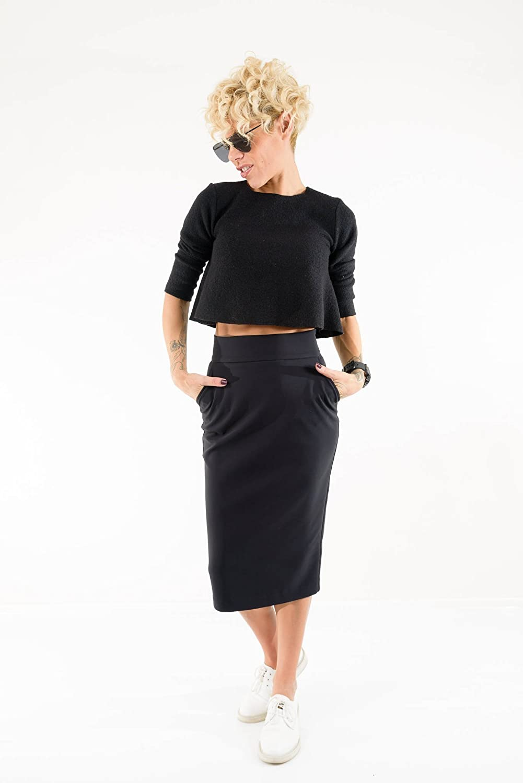 LOCKERROOM Pencil High Waist Black Midi Bridesmaid Women Office Skirt with Pockets