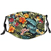 Beautiful Flower Mouth Cover with 2 PCS Filters, Fashion Cloth Scarf with Filter Pocket for Women Men