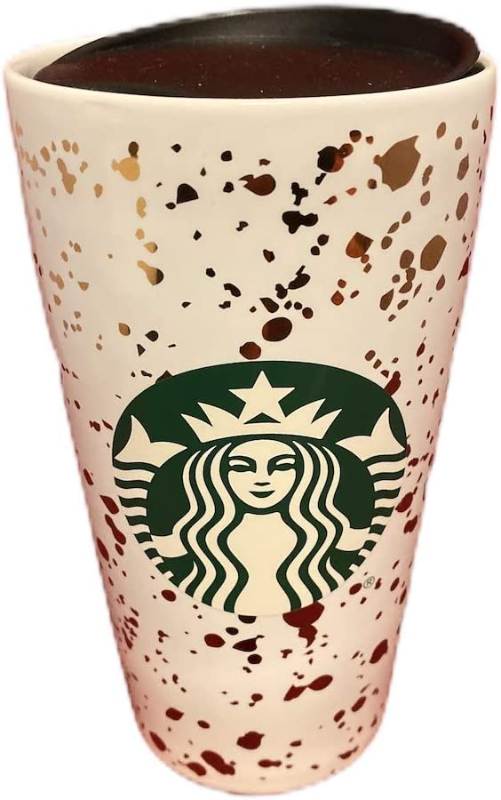 Starbucks 2019 Holiday Confetti Ceramic White and Gold 12 Ounce Beverage Tumbler