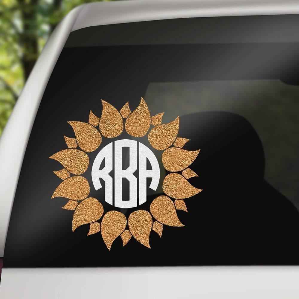 Amazon com glitter version sunflower with circle initial monogram car decal handmade
