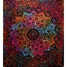 Indian-hippie Bohemian-psychedelic-elephant Star-mandala Wall-hanging-tapestry-tie-dye-red Queen-size-large-84x90