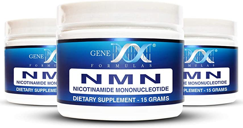 Genex NMN Nicotinamide Mononucleotide (45 Gram Serving 3x15g Jars) - Certified 99.8% Pure Powder Works Best When Paired with Resveratrol   Direct NAD+ Supplement More Stable Than Riboside