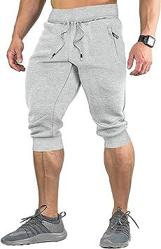 EKLENTSON Pantalones Cortos Casuales de algodón 3/4 para Hombre ...