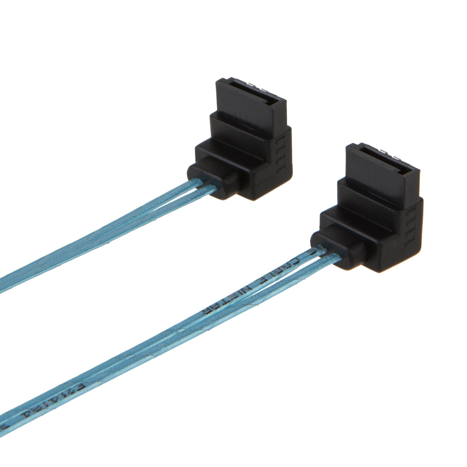 18-inch SATA III 6.0 Gbps 7pin Female to Female Data Cable with Locking Latch 2-Pack CableCreation Blue SATA III Cable