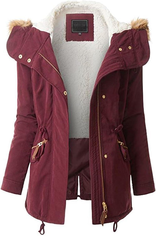 Regular and Plus Sizes FASHION BOOMY Womens Zip Up Safari Military Anorak Jacket with Hood Drawstring