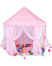 Pink Princess Castle Kids Play Tent Children Playhouse, Great for 1-10 Years Old Kids Toys, Indoor and Outdoor Use ,55-inch Diameter x 53-inch Height (LED Light Not Include)